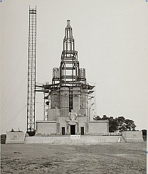 Laying brick around the steel frame of St. Andrew Memorial Church. Late 1950s.