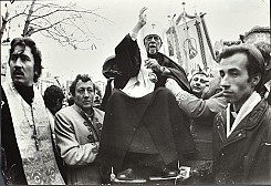 Metropolitan Mstyslav being carried into the Church of the Elevation of the Holy Cross in Ternopil, Ukraine. November 7, 1990.